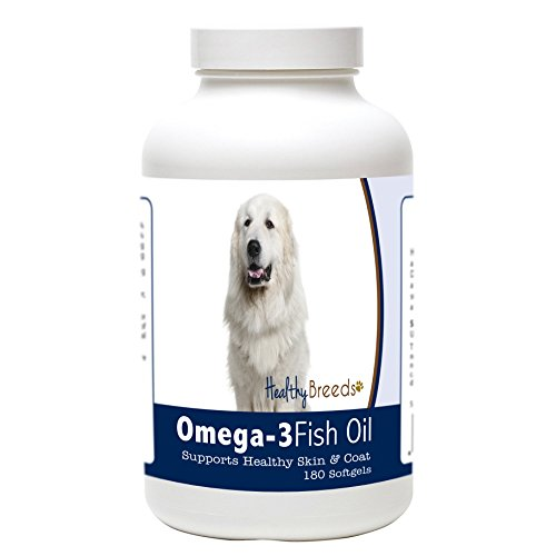 Healthy Breeds Dog Omega Oil for Great Pyrenees - Over 200 Breeds - Clean Source EPA DHA - Help Dry Itchy Skin - 180 Count