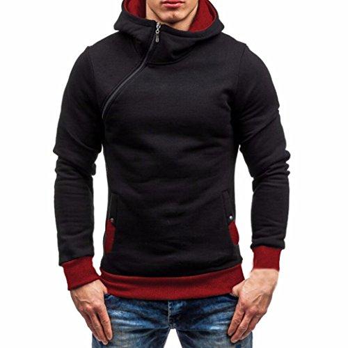 Anxinke Men Autumn Winter Long Sleeve Zipper Hooded Sweatshirt Coats (L, Red)
