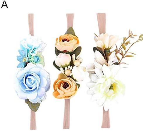 qiguch66 Flower Crown for Women, 3Pcs/Set Kids Girls Flower Headband Hairband Baby Hair Accessories Headwear – A Style – The Super Cheap