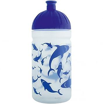 ISYbe – Botella, 0,5 L – Tiburones, Azul, antigoteo