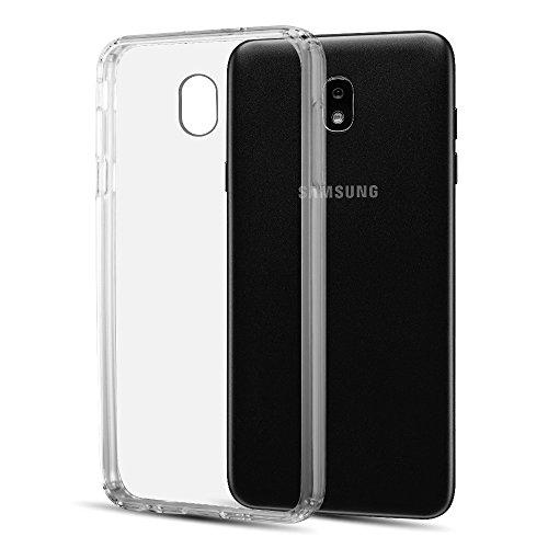 Kaleidio Case Compatible for Samsung Galaxy J7 (2018), J7 Star, J7 Refine, J7V (2nd Gen) [Scratch Resistant] Hybrid TPU Bumper [Slim Fit] Transparent Rear Skin Cover w/Prying Tool - Showcase Sided Panel