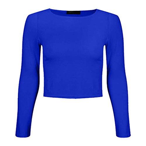Crop Canotta Nuovo Da Corto Donna Royal shirt A Maniche Lunghe T 14 Semplice Blue Collo 8 Rotondo r7xqwr51S