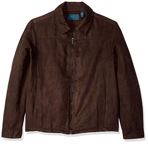 Perry Ellis Men's Big and Tall Faux Suede Shirt Jacket, Chocolate Brown/DFR, 3XL ()