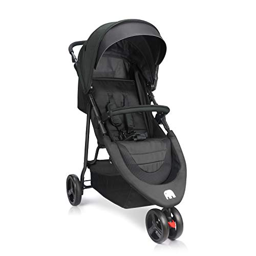 Jogging Stroller, Meinkind Baby Stroller Lightweight Foldable Jogger Stroller with UPF 50+ Canopy, 3 Wheels, Front Wheel Swivel Lock, Storage Space, Safety Belt, Up to 33 pounds, Black