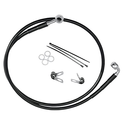 Hill Country Customs +2'' Over Stock Front Black Vinyl Coated Brake Line for 1990-1999 Harley-Davidson Softail FXSTC & 1993-2005 Dyna FXDWG -HC-401169 by Hill Country Custom Cycles (Image #1)