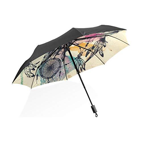 - XiangHeFu Umbrella Dream Feather Wind Chimes Auto Open Close 3 Folds Lightweight Anti-UV