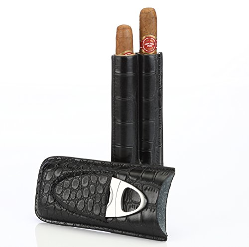Black Leather Cigar Case Holder for 2 Cigars with Cutter Set - Perfect Size for Shirt Pockets Golf Cart or Travel
