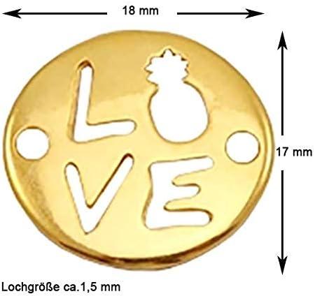 Anhänger rund 2 Stk Sadingo DQ Metall Schmuckverbinder Love - 18 x 17 mm