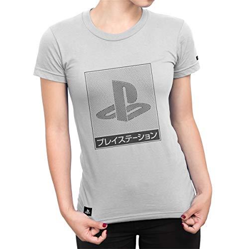 Camiseta Playstation Feminina Waves - Cinza - M