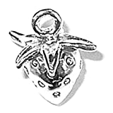 925 Sterling Silver Sweet Strawberry Fruit Vine Pendant Charm