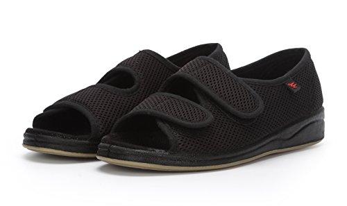 Sufoen 介護靴なら安全で快適な歩行 介護シューズ サンダル 女性用 オープン リハビリシューズ レディース メッシュ ケアシューズ スリッポン 室内 外出 ウォーキングシューズ 柔らかく 歩きやすい 通気性 痛くない 3e 4e 靴幅自分で調整できます