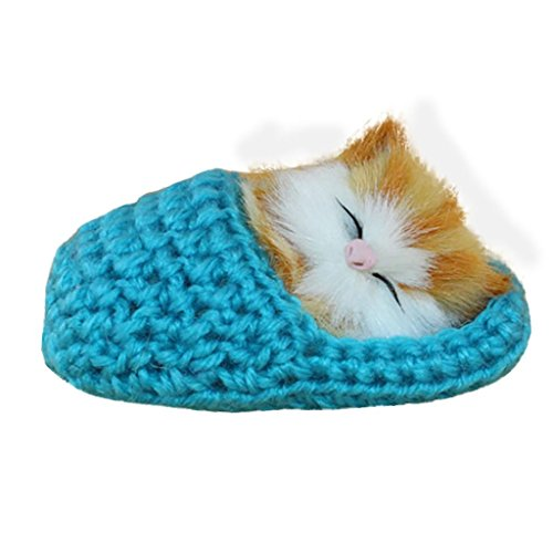 Sleeping Cat Toy   Livoty In Stock Simulation Cat Vocalize Meow Meow Slippers Kitten Plush Toys Doll  Sky Blue