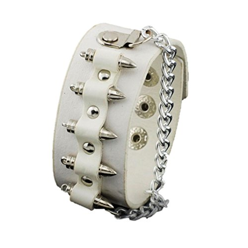 Fashion Gothic Unisex Bullet Shape Chain Link Leather Bracelet For Women / (Mariah Bullet)
