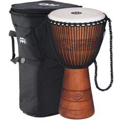 Meinl Percussion ADJ2-L+BAG African Style Rope Tuned 12-Inch Wood Djembe with Bag, Brown ()