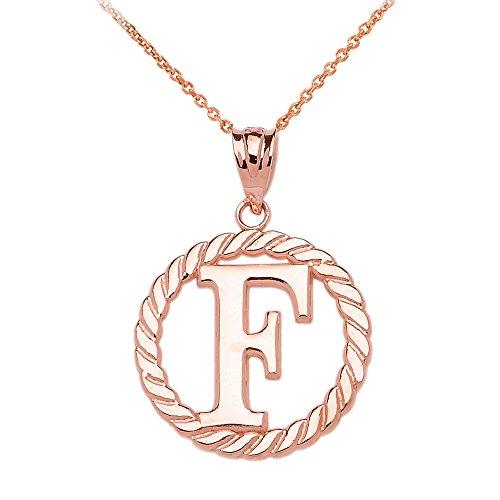 """Collier Femme Pendentif 14 Ct Or Rose """"F"""" Initiale À Corde Cercle (Livré avec une 45cm Chaîne)"""