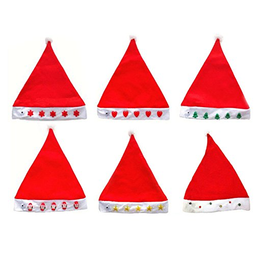 Ayygift Christmas Hot Sale Lighting Flash LED Santa Hat (12-Pack) (Halloween Costumes International Shipping)