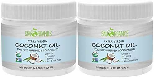 Sky Organics USDA Organic Extra Virgin Coconut Oil, Cold-Pressed, Kosher, Cruelty-Free, Color Corrector, Skin Moisturizer, Hair Treatment & Baking, 16.9 oz (Pack of 2)