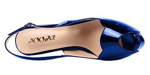 AOOAR - Plataforma Mujer Königsblau Spiegel/Lackleder