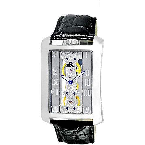 Adee Kaye Men's Tablet Black Calfskin Band Steel Case Automatic Silver-Tone Dial Analog Watch ak7171-M
