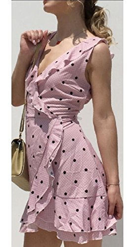 Mini Dress Line 1 V Neck Jaycargogo Ruffle Womens Sleeveless A HxUqpanvw0