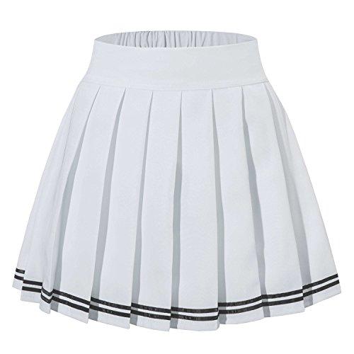 Women's High Waist Solid Vintage Skirt Skorts(2XL,White Striped) - Pleats Striped Skirt