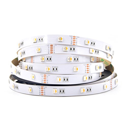 MOKUNGIT RGBW LED Strip Light 4 Colors in 1 SMD 5050 RGB+Warm White(3200K) 16.4ft 30 LEDs/m 12V White PCB Non-waterproof IP20 Mixed Color LED Strip Light