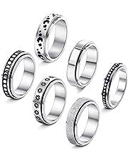 Casiler 6 stks Rvs Spinner Ring voor Vrouwen Fidget Band Ringen Maan Ster Zand Blast Afwerking Ring Set voor Stress Verlichten Bruiloft Belofte Maat 9