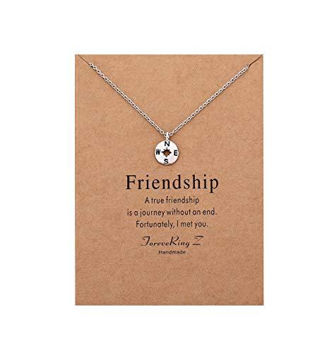 Wishoney Compass Pendant Necklace Women Jewelry Friendship Gift Disc Choker (Necklace Friendship)