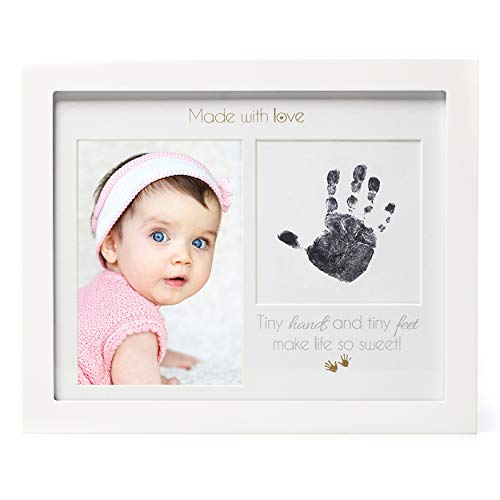 1Dino Newborn Baby Handprint or Footprint Picture Frame Kit, 11x 9 White Solid Wood Frame, Safe Clean-Touch Ink Pad Included, Babys Prints, A Perfect Baby Shower Gift, Nursery Memory Art, Wall/Desk