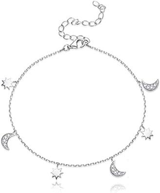 """Women 925 Sterling Silver CZ Moon Star Silver Chain Anklet Foot Bracelet 7.8-9/"""""""