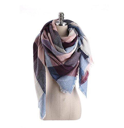 Pacyer® Damen großer Strickschal Schottenkaro XXL Wollschal Oversized Winterschal Deckenschal quadratisch (Blau+Rosa)