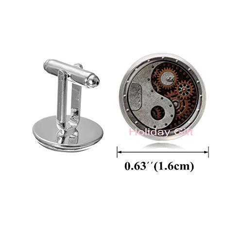 Onyx Handmade Cufflinks - Holiday gift tai chi Ying yang Chinese Kongfu Gear Cuff Links Jewelry Glass Dome Cufflinks Handmade jewelryH069 (S1)