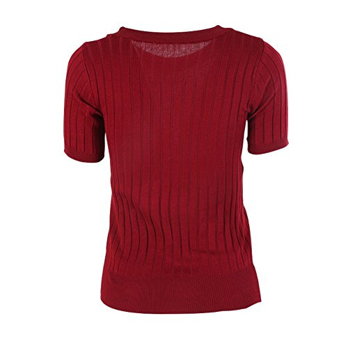 Rouge Pullover court Top Col Slim Manches Casual Femme Chandail ESHOO rond Pull WxR7qBwFnZ