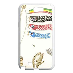 Cat and fish Custom Cover Case for Samsung Galaxy Note 2 N7100, Custom Cat and fish Cell Phone Case