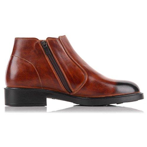 Epicstep Para Mujer De Cuero Genuino Western Casual Dress Zip Formal Chelsea Botines Zapatos Brown Simple