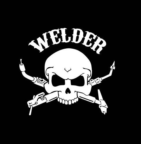 (Welder skull vinyl car decal white 8