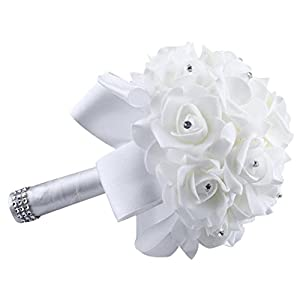 Vibola® Crystal Roses Peony Ribbon Bridesmaid Wedding Bouquet Bridal Artificial Silk Flowers Home Decor (The vases are not included.) (White) 26