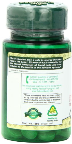 Nature's Bounty Natural Vitamin B12, 1000mcg, 100 Tablets