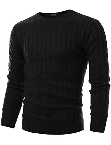 GIVON Mens Slim Fit Cable Knit Long Sleeve Crew-neck Pullover Sweater/DCP040-BLACK-S by GIVON