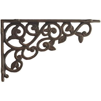 cast iron wall shelf bracket ornate leaf pattern rust brown 12 deep - Decorative Metal Shelf Brackets