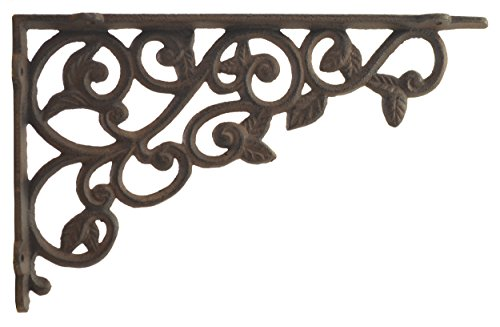 (Import Wholesales Cast Iron Wall Shelf Bracket Ornate Leaf Pattern Rust Brown 12
