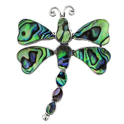 1 3/4'' PAUA Abalone Shell Dragonfly Sterling Silver brooche YE-445