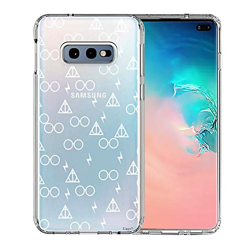 ov Clear with Design Soft TPU Shock Absorption Slim Embossed Pattern Protective Back Cover for Samsung Galaxy S10e 5.8in (Death Hallows) ()