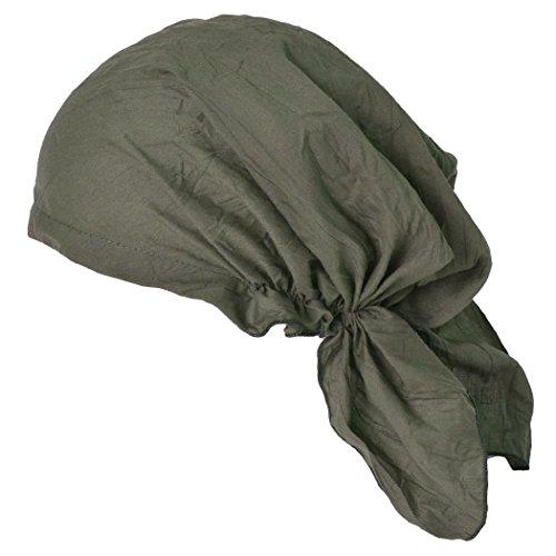 CHARM Pirate Bandana Head Scarf - Mens Balding Hair Cap Womens Headwrap Hat Chemo Wear Du Rag Cotton Summer Khaki (Smog Bandana)