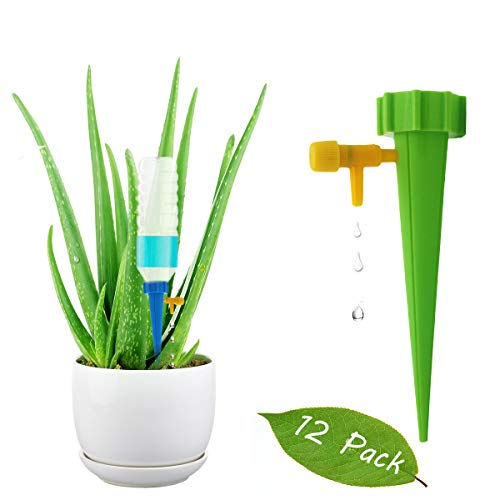 Jxselect 12 Pack Plant Waterer Self-Watering Spikes with Water Droplet Speed Control Valve, Vocation Self Irrigation Watering System-Automatic Watering Plants on Vacation