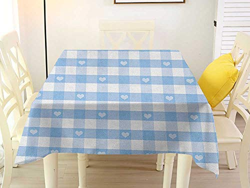Square Tablecloth Liner Checkered Gingham Motif with Cute Little Hearts Pastel Blue Baby Shower Kids Theme Pale Blue White Tablecloth 54 x 54 Inch