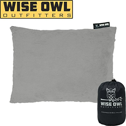 Wise Owl Outfitters Camping Pillow Compressible Foam Pillows – Use When Sleeping in Car, Plane Travel, Hammock Bed & Camp – Adults & Kids - Compact Small & Large Size - Portable Bag - MD Grey