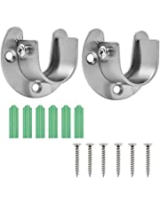 HQdeal Stainless Steel Closet Pole Sockets, 2 Packs Closet Rod End Supports(U Shaped) Heavy Duty Flange Set Rod Holder with Screws for Easy Installation and Quick Removal(32 mm)