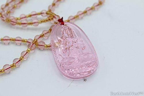 Kuan Yin Pendant - Chinese Pink Liu Li Glass Carved Mercy Kwan Yin | Guan Yin Buddha Pendant Citrine Beads Necklace Lucky Feng Shui Protection Hanging Charm