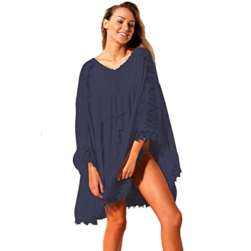 Mbd Beach Dresses Vacation V-Neck Long-Sleeved lace Details Loose Smock Beach Sun Protection Skirt (Color : Blue)